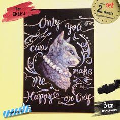 My illustration;) ハンドメイドマーケット minne(ミンネ)| 【ねこ~Lulu~】ポストカード2枚組/チョークアートイラスト