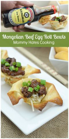 Mongolian Beef Egg Roll Bowls #KikkomanCNY #ad