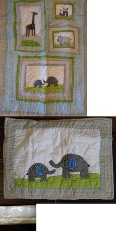Pillowcases and Shams 124327: New Pottery Barn Brooks Animals Elephant Nursery Crib Quilt Bumper And Sham -> BUY IT NOW ONLY: $229.95 on eBay!