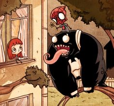 "Riza Turker created a series of comic book fan art which brings superheros like Superman, Supergirl, Robin, Poison Ivy, and the Thing into the realm of ""adorable"" while presenting situations you normally wouldn't expect to see – like Spider-Man and Venom putting their differences aside to woo Mary Jane."