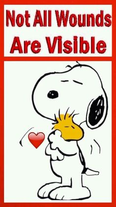 'Not All Wounds are Visible', Snoopy & Woodstock. Peanuts Snoopy, Woodstock Snoopy, Peanuts Cartoon, Charlie Brown Quotes, Charlie Brown Y Snoopy, Adventure Time Finn, Snoopy Pictures, Snoopy Images, Snoopy Quotes