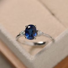 Sapphire ring silver blue gemstone ring sapphire promise