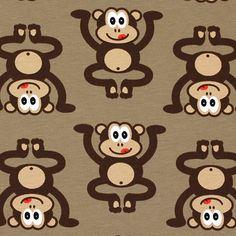 Jersey Little Monkey 3 - Bomull - Elastan - ljusbrun