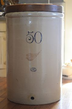 50 gallon Red Wing Crock, Have these stacked from larger to smaller up to the ceiling. Antique Crocks, Old Crocks, Antique Stoneware, Stoneware Crocks, Red Wing Crock, Red Wing Stoneware, Red Wing Pottery, Butter Molds, Old Bottles