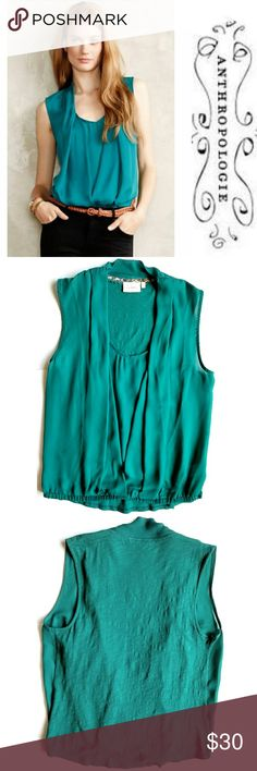 """Deletta Rivulet Top in Green Beautiful, elegant and classy blouse with a chiffon front and cotton back. Pleated envelope front with elastic bottom hem.  18"""" across chest,  23"""" long shoulder to bottom hem.  In excellent condition. Anthropologie Tops Blouses"""