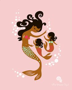 "mermaid mother & twin girls 8X10"" giclee print on fine art paper. pink, mint, magenta. gingerbread brown african american skin tone. on Etsy, $19.00"
