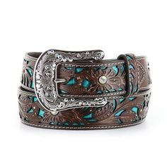 Ariat Women's Turquoise Inlay Floral Tooled Belt