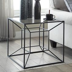 x x Color: Black Material: Wrought Iron, Glass Welded Furniture, Iron Furniture, Steel Furniture, Home Decor Furniture, Industrial Furniture, Furniture Making, Furniture Design, Modern Square Coffee Table, Modern Table