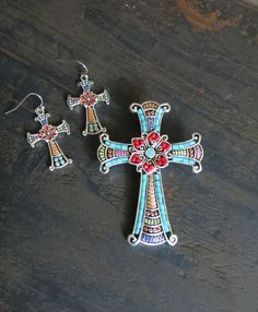 COWGIRL bling CROSS Spanish Indian Western Turquoise Inlay Gypsy pendant set  #icon