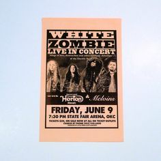 White Zombie - Original Concert Tour Poster - June 9, 1995 - OKC, State Fair Arena with Reverend Horton Heat & The Melvins  This poster is original and was from our Mohawk Music Record Store in Tulsa, Oklahoma. Measurements: 17 x 11 inches approximately Condition: Never Hung, Orange paper has faded some, and there is a tiny bit of residue around where the Y is on the word Friday. I believe it might have been from an old rubber band. Overall, the poster is in very good condition.  Very nice…