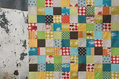 echino patchwork baby boy quilt top by filminthefridge, via Flickr