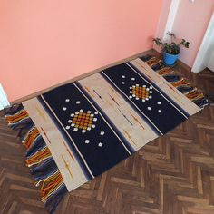 Blue and white rug handwoven wool rug with ornaments home