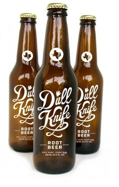 Dull Knife Root Beer by Drew Lakin Beverage Packaging, Bottle Packaging, Brand Packaging, Design Packaging, Root Beer Bottle, Beer Bottles, Green Label, Coca Cola, Product Design