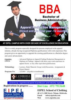 Apparel Production BBA top up degree Affordable fee