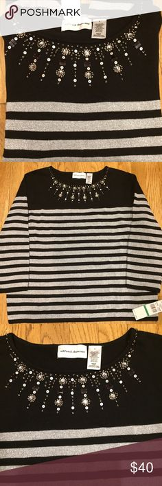 """Alfred Dunner Festive Sweater Brand new with tags  the length is 24""""  under the arms across laying flat is 22""""    65% cotton  14% acrylic  14% polyester 7% metallic Alfred Dunner Sweaters Crew & Scoop Necks"""
