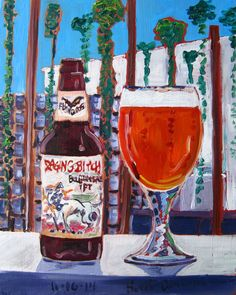 Beer Painting of Raging Bitch Belgian-Style IPA by Flying Dog Brewery in Frederick, Maryland. Year of Beer Paintings by Scott Clendaniel - Day 320.