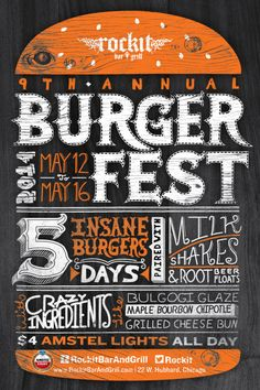 Rockit Burger Fest poster with hand drawn type. Designed by Anthony Maro - Rockit Burger Fest poster with hand drawn type. Designed by Anthony Maro - Festival Logo, Beer Festival, Festival Posters, Food Festival, Food Poster Design, Event Poster Design, Menu Design, Food Design, Bar Logo