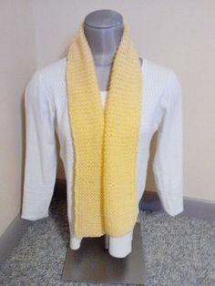 Women's  Handmade Knitted Buttercream yellow Winter Scarf New #Scarf