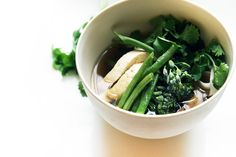 clean vegetable pho with homemade broth, parsnip 'noodles' and tofu