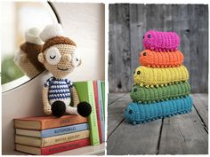 awesome stack of knitted caterpillars maybe I could crochet these