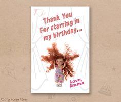 "Theater birthday thank you card, cinema favor card, theatre birthday party,cinema birthday thank you  - PRINTABLE, 4""x6"""