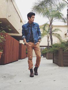 denim, khaki, and boots - good look