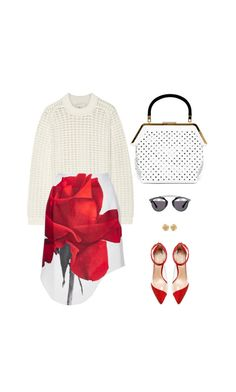 """""""Max Red #4558"""" by canlui ❤ liked on Polyvore featuring 3.1 Phillip Lim, Karla Åpetic, Raye, Christian Dior, Tiffany & Co., skirt and microminis"""