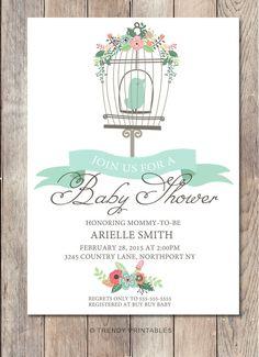 Boy Baby Shower Invitation, Bird Baby Shower Invite, Pretty Baby Shower Invite, Printable Boy Baby Shower Invite, Floral Baby Shower Invite
