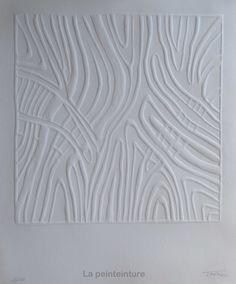 Œuvre monochrome en papier gaufré. : Sculptures, gravures, statues par la-peinteinture