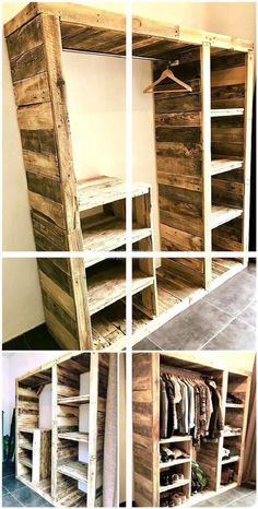 48 Creative DIY pallet projects and design of pallet furniture – DIY und Selber Machen Holz - Diy Furniture Diy Pallet Projects, Home Projects, Woodworking Projects, Woodworking Plans, Metal Projects, Design Projects, Pallet Wardrobe, Pallet Closet, Pallet Pantry