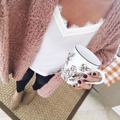 Lifestyle Blogger, Desiree of Beautifully Seaside, shares 7 cozy fall outfits she featured on Instagram lately- inlcuding chunky sweater and pretty coats.
