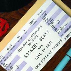 letterpress rockin bday happy birthday rock concert ticket card by a. favorite design