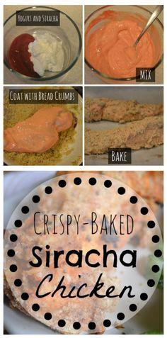 Crispy BAKED Siracha and Yogurt Chicken.