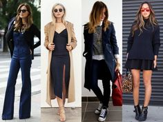 Another amazing color for winter is dark blue. In addition to being an alternative to black, blue is elegant and blends well with other shades which are on trend, like caramel and rose quartz. Here, we select some gorgeous looks to inspire you: from the elegant, like the dress with the slit and the jumpsuit , to the least formall, like the short skirt.