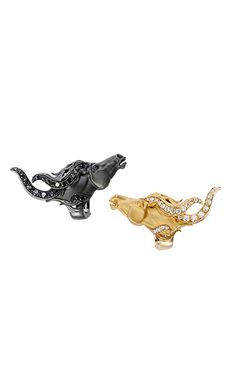 Magerit - Wild Spirit Collection: Earrings Wild Spirit Small YELLOW GOLD 18KT BLACK RHODIUM AND BLACK AND WHITE DIAMONDS