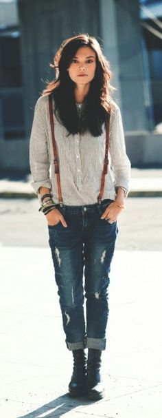 Boyfriend jeans with flat ankle boots.