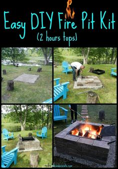 Very easy and fast fire pit kit with grill idea from redheadcandecorate.com.