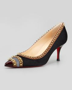 Malabar Hill Low-Heel Studded Red Sole Pump by Christian Louboutin at Neiman Marcus.