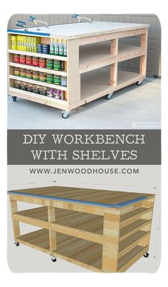 How to build a DIY workbench with shelves. Free plans by Jen.- How to build a DIY workbench with shelves. Free plans by Jen Woodhouse How to build a DIY workbench with shelves. Free plans by Jen Woodhouse - Woodworking Workbench, Woodworking Projects Diy, Diy Wood Projects, Woodworking Furniture, Workbench Ideas, Workbench Top, Workbench Designs, Woodworking Workshop, Woodworking Machinery