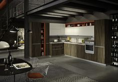 Fitted kitchen with integrated handles FEEL by Snaidero