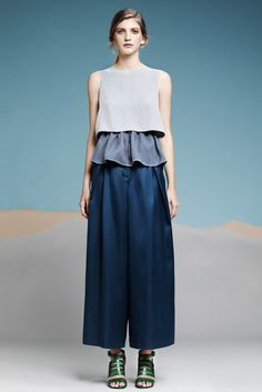 Araks Spring 2014 Ready-to-Wear Collection - liking the idea of simple crop tops layered over flowy ruffle tops