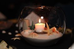 Candle sea shell centerpiece