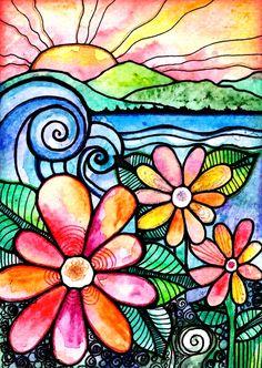 From a Distance beach waves flowers art print от RobinMeadDesigns