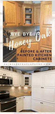 Kitchen cabinets before and after - Bye Bye Honey Oak Kitchen Cabinets, Hello Brighter Kitchen! – Kitchen cabinets before and after Cheap Kitchen Cabinets, Kitchen Wood, Kitchen Cabinetry, Distressed Kitchen, Kitchen Counters, How To Paint Kitchen Cabinets White, Kitchens With Oak Cabinets, Painting Honey Oak Cabinets, Best Cabinet Paint