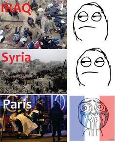 【画像】パリのテロで騒ぐ人を批判する風刺画ワロタwwwwww : あじゃじゃしたー