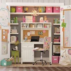 workspace in a closet, neat!
