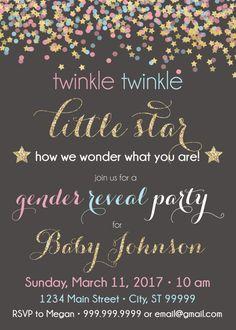 gender reveal, gender reveal invite, gender reveal invitation, twinkle twinkle little star, gender reveal party