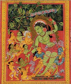 12th C. Tara Dispensing Boons to Ecstatic Devotees. Pala period palm leaf manuscript. India, (West Bengal or Bangladesh).