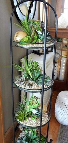 Turn a pot stand into a small garden.