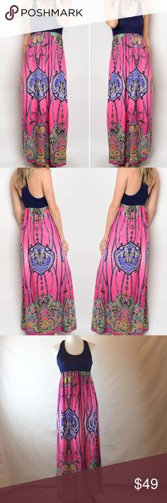 New! Boho Maxi dress Super fun racerback Maxi dress with blue solid top (Rayon/Spandex) & pink/purple Boho pattern bottom (Polyester). Lightweight and airy and so comfortable. Pair with gold sandals in my closet! Top part is very very stretchy so just go with your normal size! Length on small pictured. Dresses Maxi